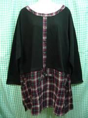 ◆新品◆大きいサイズ◆ミニ裏毛チュニック BK&RE◆8Lサイズ◆
