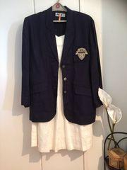 #コーデ FILAフィラ麻リネン紺ブレザー白スカートセット高級美品