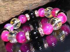 守り本尊十二支水晶§ピンクアゲート§オニキス数珠