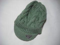 wb594 ROXY ロキシー つば付き ニット帽 ビーニー 緑
