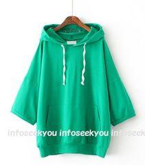 3L4L5L大きいサイズ/ロゴ刺繍フード〜カラーパーカー/緑