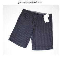 ジャーナルスタンダードluxe★ストライプウールショートパンツ(L)新品ネイビー
