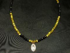オラオラ数珠!!マリアプレート×ゴールデンタイガーアイ×カットオニキスネックレス