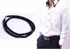 オラオラ系アイテム♪ブラックスピネル8ミリ数珠ネックレス!!お洒落番長