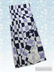 【和の志】洗える着物◇袷Mサイズ◇白藤紺系・幾何学299