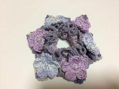 ハンドメイド シュシュ パープル レースのお花♪ axes好き 紫