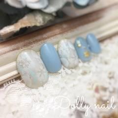 みぢょ!ショートオーバル水色ブルー雪の結晶スノークリスタル冬ネイル