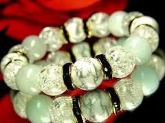 開運天然石!!ホワイトターコイズ&アクアマリン&クラック水晶数珠ブレスレット