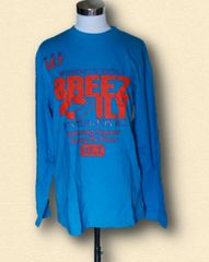 新品ブルー英字長袖TシャツLサイズ