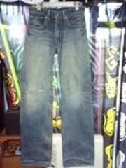 リーバイス510レッドループ色落ちダメージジーンズ