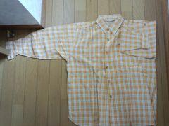 新品! オレンジのチェック柄長袖シャツ【Sサイズ】