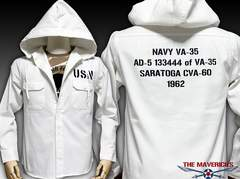 US.NAVY米海軍・長袖ミリタリーシャツパーカーL/ホワイト白