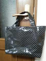 ハンドメイドラミネート たっぷりマチ付 miniバッグ 水玉 黒