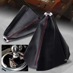 シフト  ブーツ カバー カーボン調 黒× 赤ステッチ入 合皮