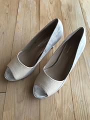 美品 LASUDラシュッド オープントゥパンプス レディース 靴 23.5