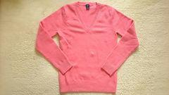 ギャップGAPピンク可愛い毛ウール暖かVネック長袖ニットセーター