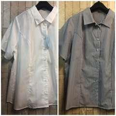 新品☆17号ゆったりバスト半袖シャツ2枚組!スーツオフィスにj365