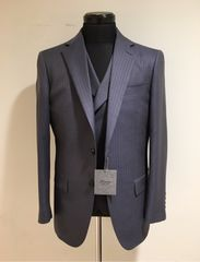 新品 6.3万 ティノラス 織柄ストライプ コンバーチブルベスト付き 3ピーススーツ Mサイズ