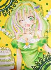 ロリータ少女の生写真(グリーン系)