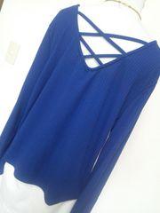大きいサイズ★着痩せ縦ライン柄×背中クロス★ボリューム袖★長袖4Lブルー