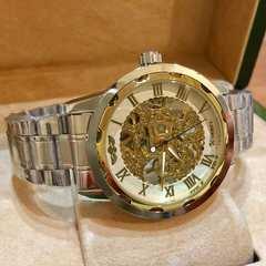 WINNER スケルトン 自動巻きメンズ腕時計 ホワイト×ゴールド金枠
