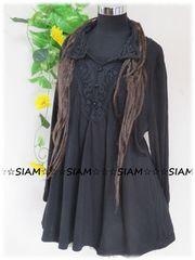 新作☆大きいサイズ☆3Lブラック☆胸元&背刺繍レース☆ストレッチチュニ