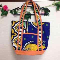 ◆ブルー◆ハワイアン アロハ 青 キャンバス ショルダーバッグ