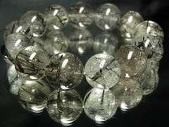 ビジネス運アップ!!!ブラックルチル16ミリ数珠ブレスレット!!高級天然石