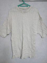 Fー133★メンズ半袖カジュアルTシャツ ホワイト L