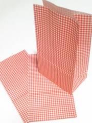用途いろいろ角底紙袋★チェック赤15枚