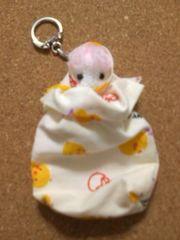 ●ハンドメイド/キーホルダー/ミニ巾着/ひよこ柄(桃)