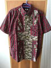 コムデギャルソン オムプラス 赤チェック×カモフラ半袖シャツ S