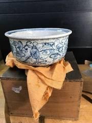 骨董。安南写鉢。平安菊渓作。共箱。在銘未使用。