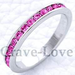 新品21号フルエタニティリング☆可愛いピンクスワロpink大きいサイズ綺麗細身