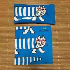zoff×リサラーソン・猫のマイキー柄メガネケース。ブルー