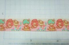sale【ピンク*クリーム色】22mm巾 キキララ柄 リボン1M