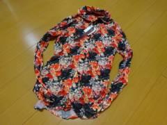 SEANA クリンクル加工フラワーデザインシャツジャケット【新品】