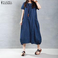 新品大きいサイズ6L〜7L 裾バルーンマキシワンピース 青