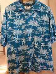 PIKOピコ/メンズ半袖Tシャツ/パーム柄アロハシャツ/沖縄ハワイ等南国旅行に♪サイズM