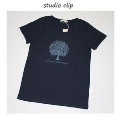 スタジオクリップ*studio clip★ラフィー天竺ネイチャープリントTシャツ/新品