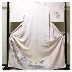 極上 大丸謹製 特選 正絹 裄65.5 訪問着 淡い藤色 菖蒲  袷 中古