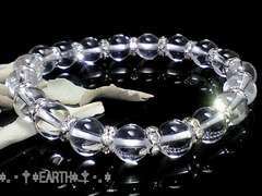 天然石★8ミリ高級天然水晶AAA銀色ロンデル数珠