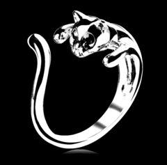 限定 新品 1円〜★送料無料★ ブラックダイヤ 猫ネコ抱き付きリング 指輪