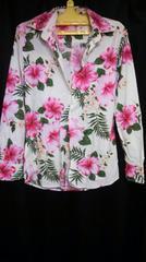 花柄ハイビスカス長袖シャツ  試着のみ セレブ 一点物