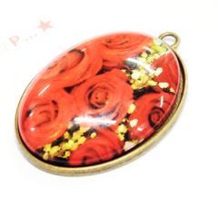 27*�@スタ*大きなガラスカボション金属チャーム 薔薇 47
