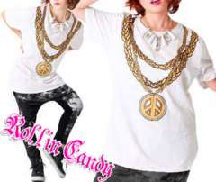 C46)大きいサイズ!チェーンネックレスTシャツ白ヒップホップB系ダンス衣装ダンサーHIPHOP