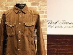 表記M/新品!Steel Brawn コーデュロイ 茶 ウエスタンシャツ 50'sロカビリースタイル