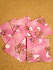 ハンドメイド 和柄コースター(うさぎ ピンク)5枚セット