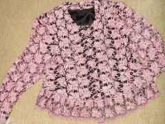 総フラワー刺繍模様*長袖ジャケット(ピンク×ブラック)