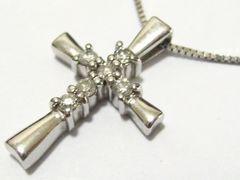 レディース永遠NO1人気.天然ダイヤクロス本物14金ホワイト.ITALY製の最高ネックレス